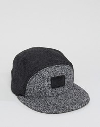 Asos 5 Panel Cap In Boucle And Melton Mix Grey