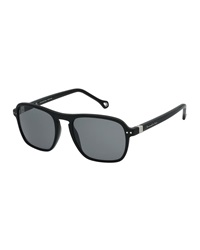 Ermenegildo Zegna Square Polarized Navigator Sunglasses Black