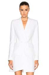 Alexandre Vauthier Crepe Double Breasted Blazer In White