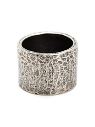 M. Cohen Carved Tube Ring Metallic
