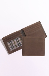 Boconi 'Leon' Slimfold Wallet Mocha Green Plaid