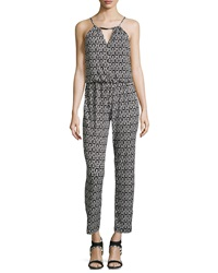 Liquid By Sioni Printed Halter Jumpsuit W Hardware Black White