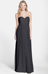 Women's Donna Morgan 'Laura' Ruched Sweetheart Silk Chiffon Gown Black