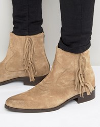 Asos Pointed Chelsea Boots In Stone Suede With Finging Stone
