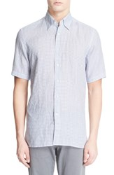 Men's Canali Regular Fit Geo Print Linen Sport Shirt