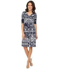 Christin Michaels Tea Length 3 4 Sleeve Wrap Dress Navy White Women's Dress Blue