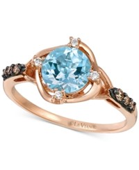 Le Vian Chocolatier Aquamarine 9 10 Ct. T.W. And Diamond 1 8 Ct. T.W. Ring In 14K Rose Gold Blue