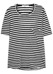 A.L.C. Joels Striped Linen T Shirt Black And White
