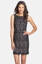 Women's Adrianna Papell Boatneck Lace Sheath Dress Black Nude