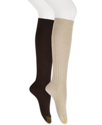 Gold Toe Women's 2 Pk. Ultra Soft Knee High Socks Khaki Brown