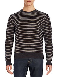 Saks Fifth Avenue Striped Cashmere Sweater Grey Oatmeal