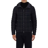 Moncler Men's Quilted Plaid Wool Hooded Coat Navy