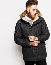 Wrangler Parka Coat Denim Performance Sherpa Lined Hood Black
