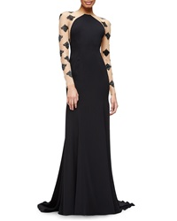 Lela Rose Damask Beaded Sheer Inset Gown
