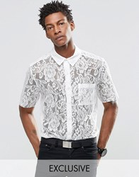 Reclaimed Vintage Lace Shirt With Raw Cut Sleeves White