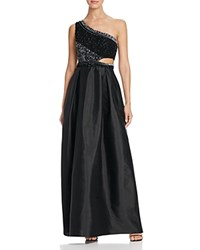 Aidan Mattox One Shoulder Beaded Cutout Gown 100 Bloomingdale's Exclusive Black