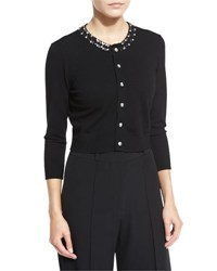 Milly 3 4 Sleeve Gem Collar Cropped Cardigan Black