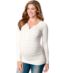Motherhood Maternity Striped Henley Top