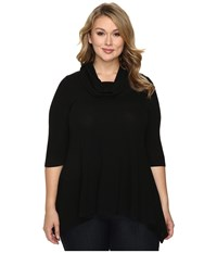 Karen Kane Plus Size Cowl Neck Handkerchief Top Black Women's Clothing