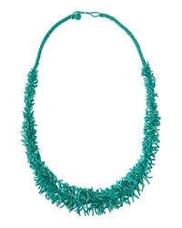 Kenneth Jay Lane Coral Strand Cluster Necklace Turquoise
