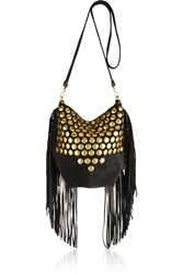 Jerome Dreyfuss Mario Studded Fringed Suede Shoulder Bag
