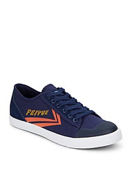 Feiyue Fe Lo Ii Canvas And Leather Sneakers Navy