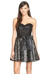 Women's Sean Collection Mixed Media Fit And Flare Dress