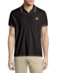 Moncler Twin Tipped Short Sleeve Pique Polo Black Size Small