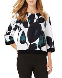 Phase Eight Lisa Leaf Print Blouse Green Ivory