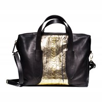 Volver Design Group Volver Bowery Satchel Black And Silver