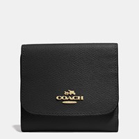 Coach Small Wallet In Crossgrain Leather Light Gold Black