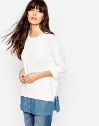 Asos Jumper With Woven Shirt Hem Creamdenim