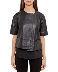 Ted Baker Losimia Short Leather Jacket Black