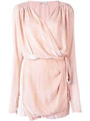 Attico Tie Waist Draped Dress Pink And Purple