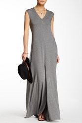 Go Couture Cap Sleeve Front Slit Maxi Dress Gray