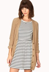 Forever 21 Ribbed Boyfriend Cardigan Taupe