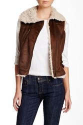 Lavand Faux Fur Lined Vest Brown