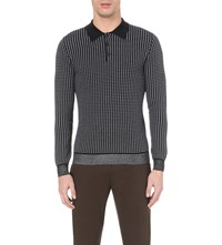 Reiss Marco Checked Cotton Blend Polo Shirt Navy