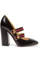 Gucci Embellished Canvas Trimmed Leather Pumps Black
