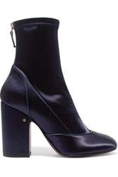 Laurence Dacade Melody Stretch Satin Boots Navy