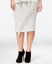 Jessica Simpson Valentina Plus Size Pull On Fringe Skirt Oatmeal