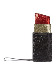 Lulu Guinness Blk Glitter Lipstick Coin Purse Black