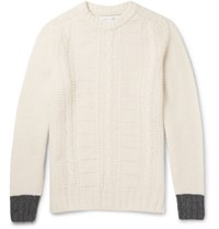 Several Tilbury Cable Knit Wool Sweater Cream