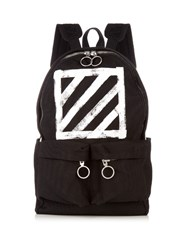 Off White Logo Print Canvas Backpack Black Multi
