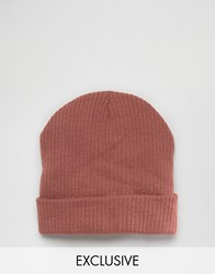 Reclaimed Vintage Oversized Beanie In Dusty Pink Pink