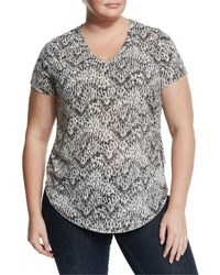 Vince Camuto Short Sleeve Printed Top Rich Black