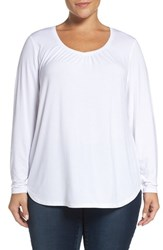 Sejour Plus Size Women's Sweetheart Neck Long Sleeve Tee
