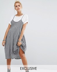 Milk It Vintage Pleated Cami Dress In Gingham Black White Gingham