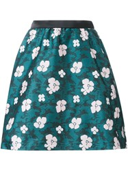 Loveless Floral A Line Skirt Green