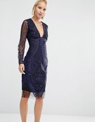 Lavish Alice Embroidered Mesh Deep Plunge Side Split Midi Dress Navy